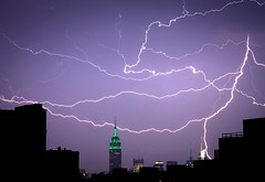 Lightning and the Empire State (Several seconds) Tags: nyc storm brooklyn america fork midtown empire heat bolt williamsburg strike empirestatebuilding gothamist lightning thunder crackle bankofamericabuilding newyok newyorktimesbuilding forklightning forklightening june2011 newyorklightning greenempire heatrelease empirelightning
