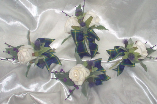 """dave"" grooms & guests scotish b/holes with roses thistles/heather/gordon tartan by you."