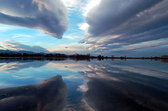 Two Skies (GoldenEel) Tags: sky lake reflection water clouds colorado openspace homework wwa crownhill jeffersoncounty
