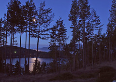 Moon Over Pender Landing (Peggy Collins) Tags: ocean morning blue trees moon canada mountains water silhouette landscape dawn islands pacific harbour britishcolumbia pacificocean pacificnorthwest moonset penderharbour moonbeam sunshinecoast waterscape spectacularlandscapes moonray peggycollins penderlanding