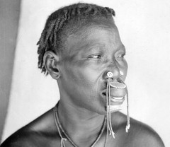 Africa in the early 1940s (gbaku) Tags: pictures africa woman art history nose photo women photos native african buttons kunst femme central decoration picture historic photographs photograph button tropical historical lip anthropologie artifact facial plugs artifacts anthropology femmes labret artefact africain afrique ethnography geschichte ethnology artefacts africaine ethnologie labrets classicblackwhite afrikas