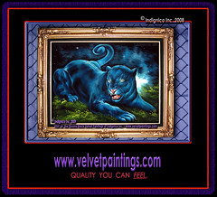 A Black Panther on Black Velvet, An Original Tijuana Black Velvet Painting Hand-Painted by Medina