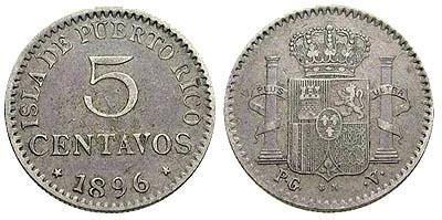 1836 Puerto Rico Five Centavos