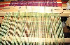 Pickup stick pushed to the back of the loom