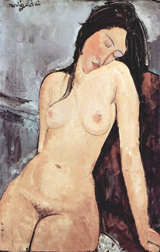 Modigliani Portrait of a Nude Woman Satisfied, for the Moment, with Herself Alone by griffinlb