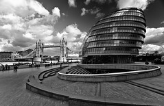 Stairscape (Philipp Klinger Photography) Tags: city uk bridge light shadow england sky people bw sculpture white black reflection building london tower window water glass thames architecture clouds stairs photoshop river boat hall office nikon europe stair ship britain walk united hill great egg kingdom norman queen queens foster filter gb philipp cpl polarization klinger stairscape abigfave platinumphoto d700 goldstaraward dcdead rubyphotographer vanagram nikonafd20mm anselklinger