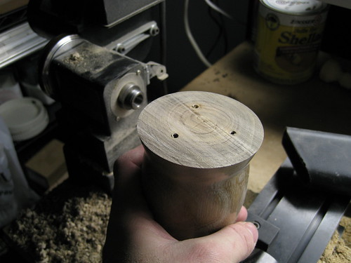 base of turned euc log cup after lathe face place is removed