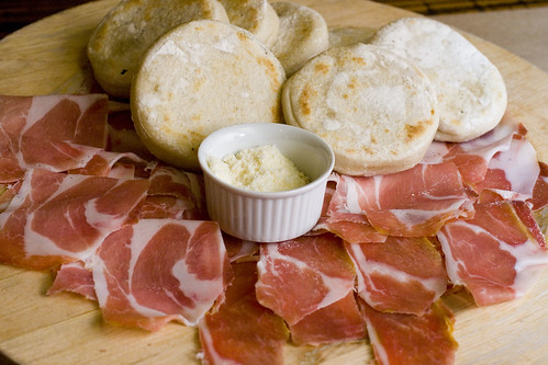 Baked Flat Buns with Parma Prosciutto