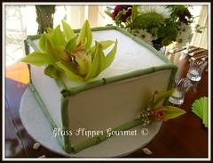 """""""Zen"""" - for a bridal shower (Glass Slipper Gourmet) Tags: orchid bridalshower bamboo buttercream squarecake glassslippergourmet bayareacakes simpleelegantcake"""