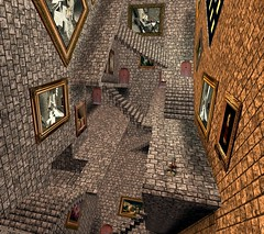 Escher meets Hogwarts (Beverly Millson (aka Bettina Tizzy)) Tags: architecture stairs design ibm sl secondlife virtual immersive learning hogwarts hud newbies mcescher vanishingpoints cameramovements contentcreation npirl notpossibleirl colinfizgig hallofwonders