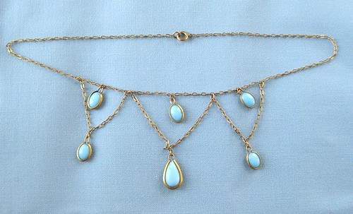 Victorian Robins Egg Blue Festoon Glass Necklace Antique