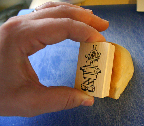 Stamping on a roll with food markers
