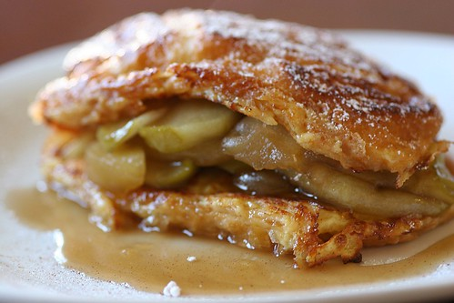 croissant french toast with soft caramel apples