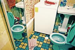 Re fleccion 2 (Bitten Apple Inc.) Tags: city blue sky urban colour art film vintage mexico bathroom mirror reflex colours think toilette wc pelicula analogue reflexion yashica refleccion tides cityart artcafe bittenappleinc zavet