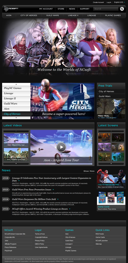 NCsoft West home page