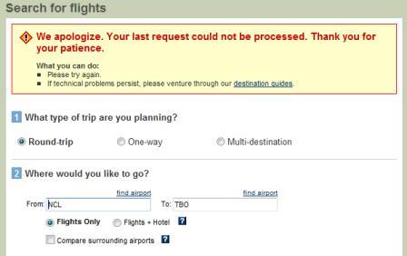 Travelocity error message
