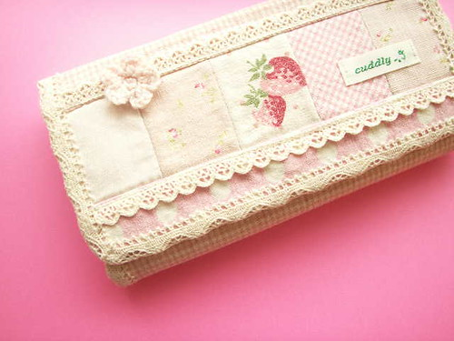 Kawaii Handmade Purse Wallet Japanese Fabric YUWA Girly Pink Strawberry Floral Lace Cute Japan