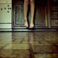 pigies (PaytonGuerra) Tags: woman feet me kitchen girl tattoo self tile square flying toes floor legs floating magnets sp levitating lesbrummes ididnthaveasingleciggaretteyesterday