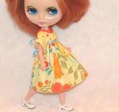 Citrus Splash Peasant Dress OOAK
