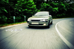 Vectra B touge attack! (Krpti Tams II.) Tags: b trees motion blur green nature wheel shoot shot post olive ps front downhill rig trunk process panning uphill touge opel d1 drift vectra cdx greass