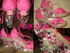 ★Pink Sandals with Bling Hello Kitty and Gems! Made by Me~★ (Pinky Anela) Tags: pink summer japanese sandals hellokitty sanrio kawaii deco gems gyaru pinkyanela