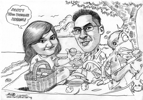 Couple anniversary caricatures picnic at the beach