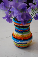 vase (Studio SOIL) Tags: flowers copyright colors colorful bright handmade crochet cover vase owndesign