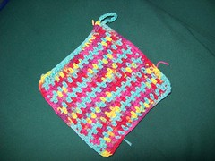 100_1421 (MrsLewis907) Tags: pink blue red yellow purple crochet yarn cotton multi potholder peachesncream