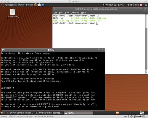 Coherent on QEMU on Ubuntu on VMWare on OSX