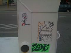 (theres no way home) Tags: chicago green eye graffiti sticker neon pyramid bright some streetartist melt postal yob itsblago