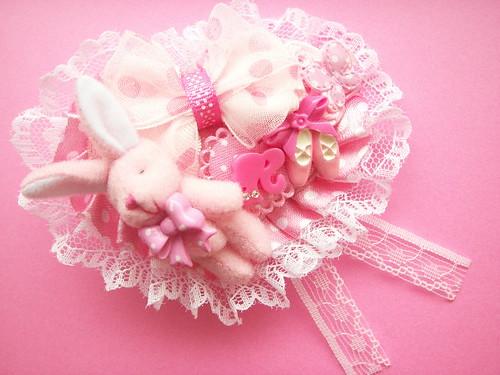 Kawaii Handmade Pink Brooch Pin Heart Shaped with Lace Japan