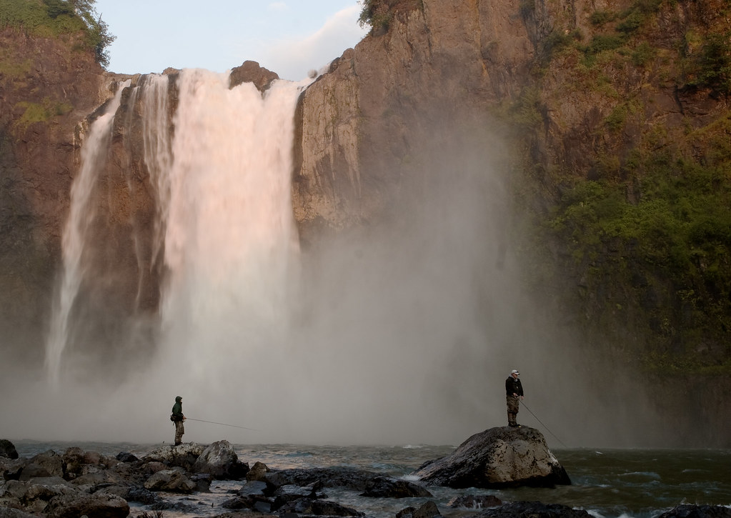 Fisherman at Sunset, Snoqualmie falls