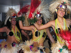 Tahitian dancers (Roving I) Tags: costumes shells dance events hula sydney feathers smiles culture entertainment tahiti coconutbras baremidriffs
