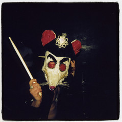 White Mice (Claire Marie Vogel) Tags: show california school people musician music white art 120 film college marie musicians square mouse drums weird claire holga scary lomo lomography drum border performance arts lofi band scene lo institute mice bands masks cal smell drummer stick medium format fi drumming unusual mm noise loud vogel 120mm sloppy calarts