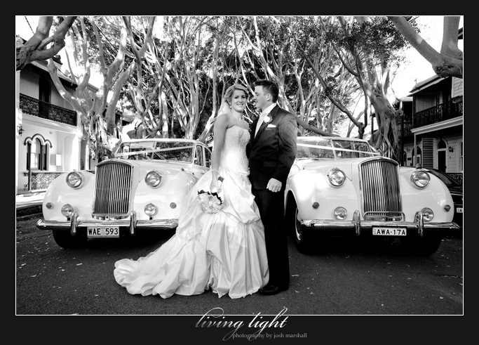 Fig lined streets with bride and groom. Newcastle wedding photography.