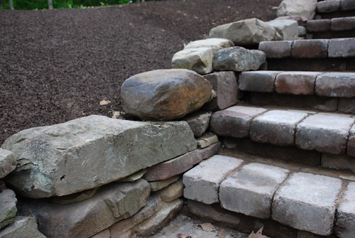 Stone wall and cobblestone steps