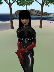 Me in my black rubber latex catsuit (Shiny moniree in sl) Tags: girls black hot sexy girl fetish shiny doll rubber sl latex catsuit secondife moniree