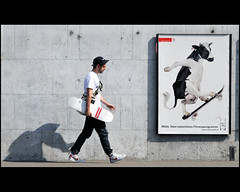 summer in the city ... (Dreamer7112) Tags: street shadow red people white man men wall ads walking advertising schweiz switzerland cow milk nikon europe shadows publicidad suisse suiza swiss zurich ad streetphotography skaters advertisement explore sua lait denim skater walls shadowplay zrich latte werbung svizzera advertisements zuerich publicit plakat supreme reklam walkin milch publicidade pubblicit annalisa d300 summerinthecity acrossthestreet zurigo muccapazza  werbeplakat milkad  mywinners  swissmilk nikond300   clipcook stphotographia walkingclasshero