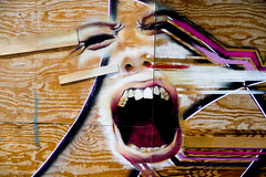 Shout Out Loud (Gary Denness) Tags: wood face delete10 delete9 painting delete5 graffiti delete2 mural delete6 delete7 save3 delete8 delete3 delete delete4 save save2 scream shout deletedbydeletemeuncensored