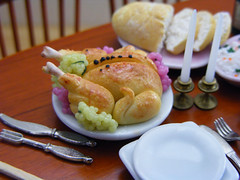 Roast Chicken with Grapes (Shay Aaron) Tags: thanksgiving food house chicken scale kitchen feast dinner turkey bread lunch miniature doll dish rice handmade aaron fake mini bowl gourmet fimo tiny meal grapes peas faux shay carrots 12th 112 serving dollhouse petit fridaynight twelfth roastchicken pilaf whiterice pulao shayaaron