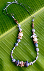 beaded necklace (Mzuri beads) Tags: bananaleaf barkcloth cowhorn paperbeads ethicalfashion ribbonnecklace recycledjewelry fairtradejewelry naturalbeads fairtradebeads ugandanbeads ecojewellery ethicalbeads mzuribeads ugandanjewelry kirstiemaclean