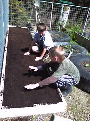 Jordan and Trace gardening