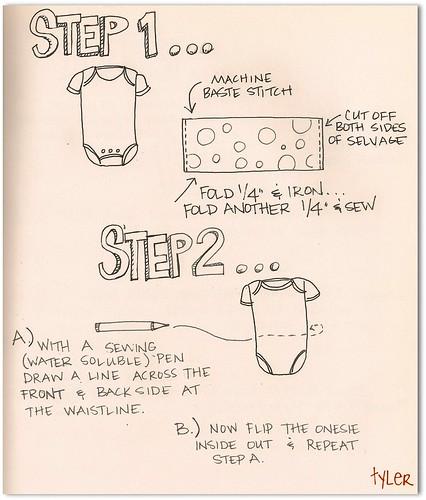 Onesie Dress- step 1 and 2