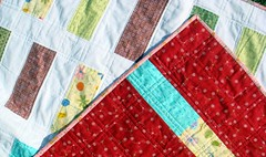 sherbet quilt detail, backside, and binding