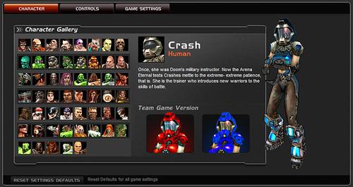 Quake Live opciones personajes