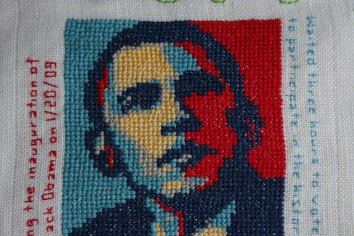 Cross Stitch Obama, close up