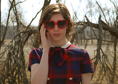 My New Specs (strawberrykoi) Tags: girl train vintage japanese dress traintracks bow 1950s junior plaid schoolgirl eurasian halfasian peterpancollar