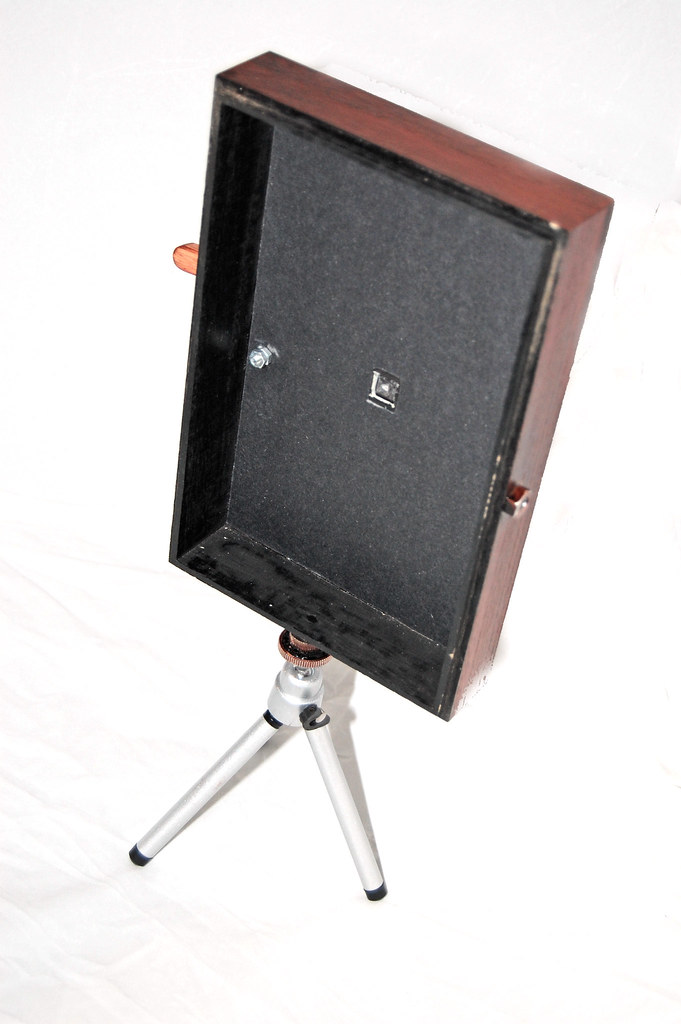 Wooden Pinhole 5 x 7 camera - front interior showing shutter pivot and pinhole