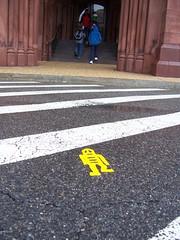 Stikman at the Museum Administrator's (trepelu) Tags: streetart yellow washingtondc smithsonian stencil stickerart grafitti pavement stickman stripes crosswalk asphalt stencilart stikman