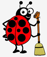 "ladybug with broom • <a style=""font-size:0.8em;"" href=""http://www.flickr.com/photos/36221196@N08/3367317931/"" target=""_blank"">View on Flickr</a>"